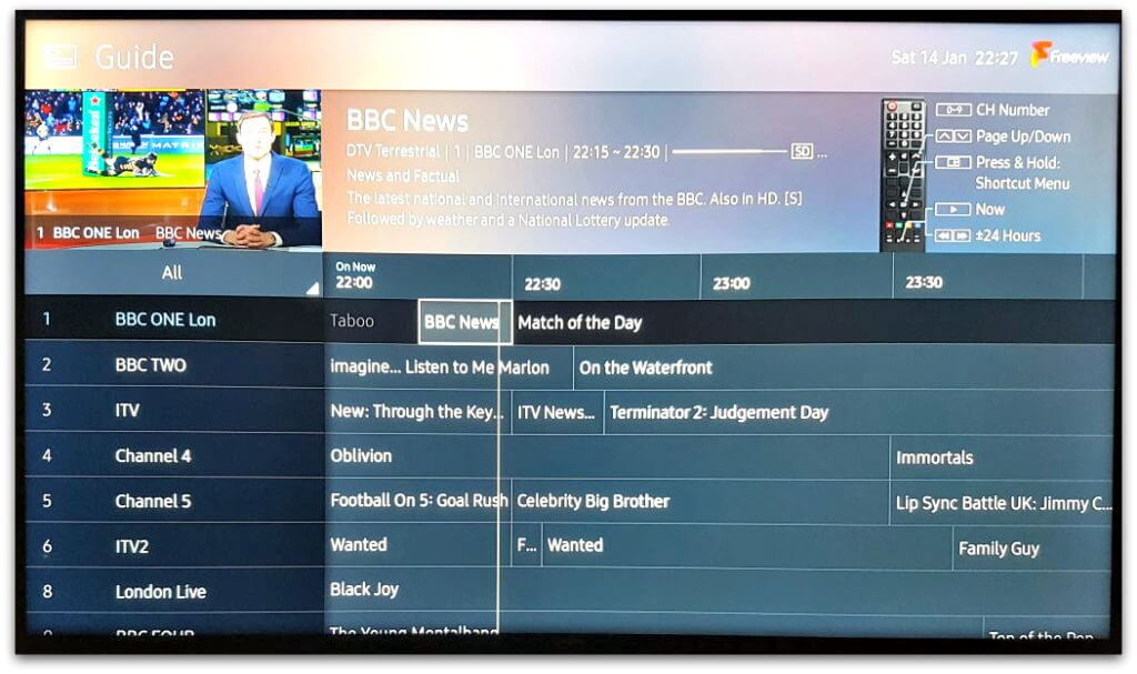 Freeview Electronic Programme Guide EPG on TV screen