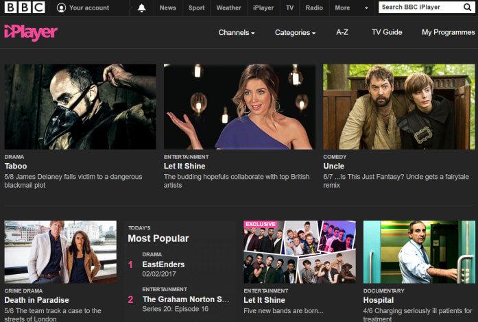 BBC iPlayer homescreen