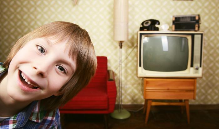 Child old tv cabinet vintage
