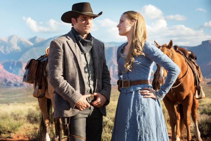 Westworld James Marsden as Teddy and Evan Rachel Wood as Dolores Abernathy