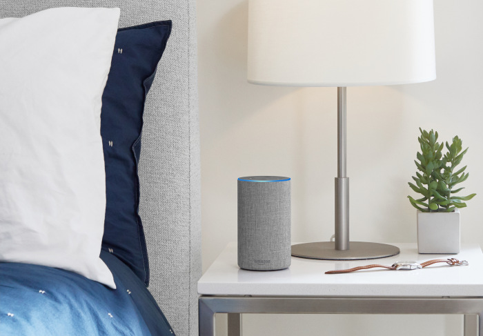 Amazon Echo on nightstand