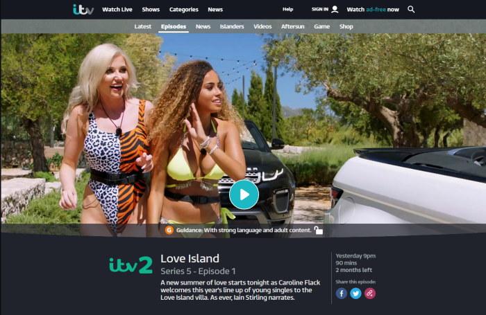 ITV Hub with Love Island