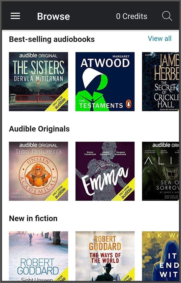 Audible app store on smartphone