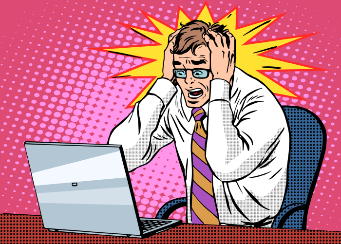 Illustration of a man angry in front of computer