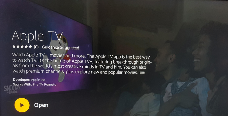 Apple tv plus on fire tv main screen