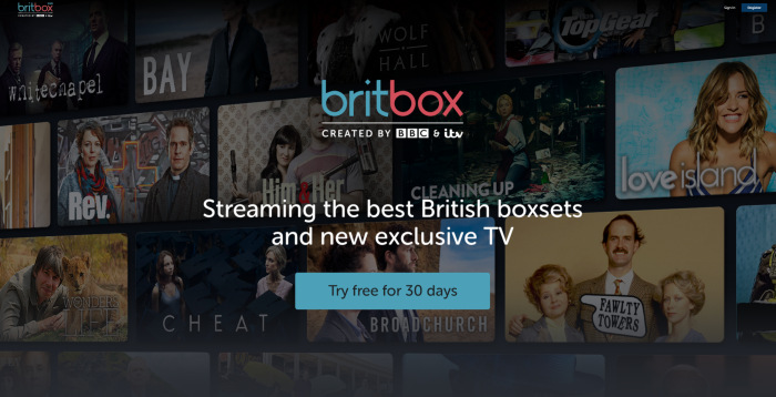 BritBox free trial main screen