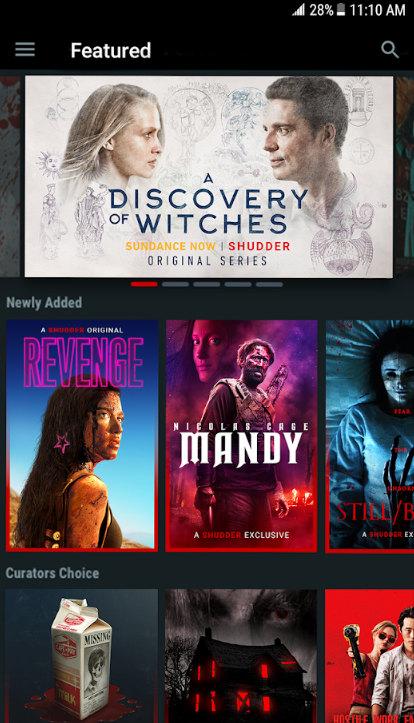 Shudder horror streaming service mobile app