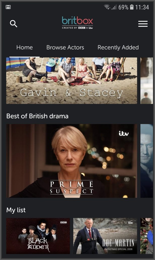 BritBox app mylist
