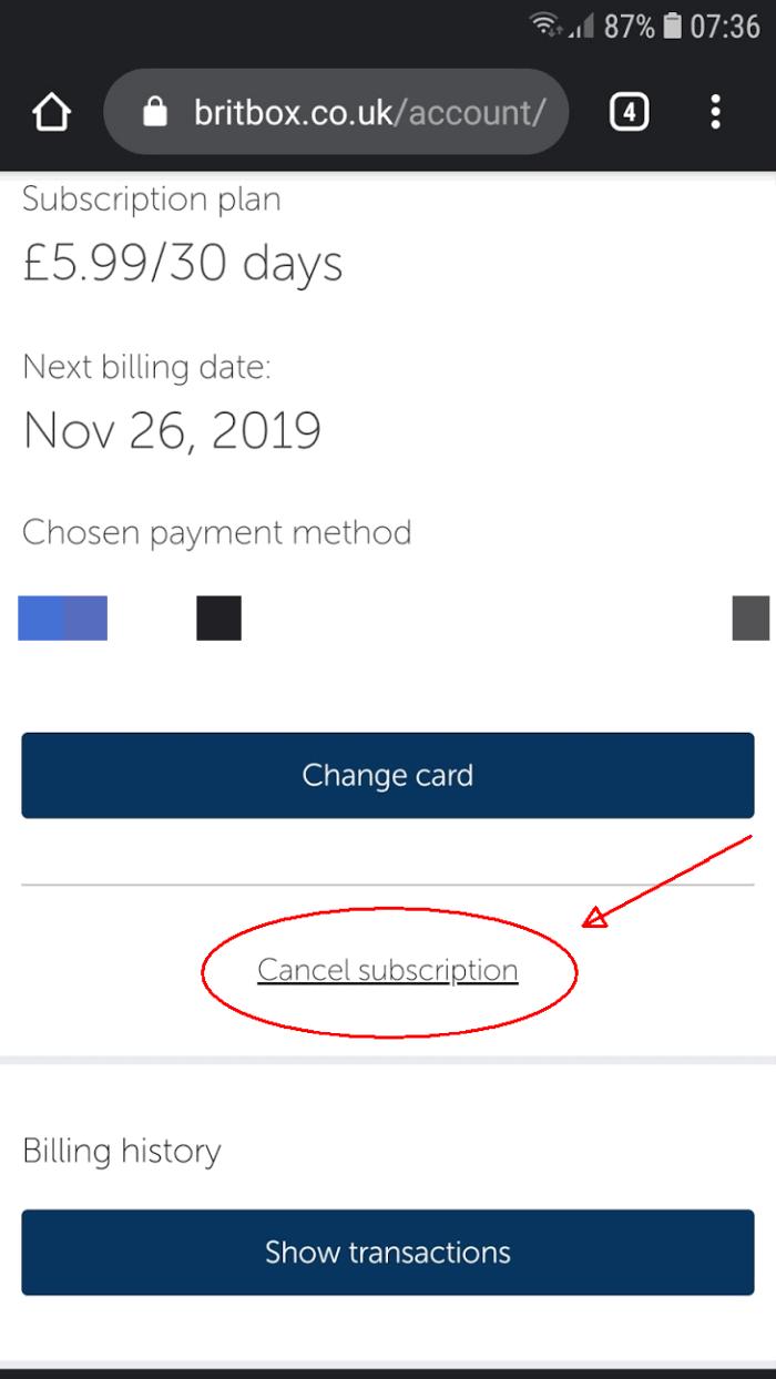 Cancel Britbox Subscription app