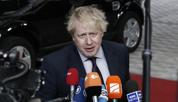 Boris Johnson UK Prime Minister speaking to press