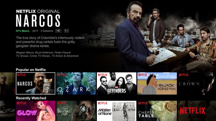 Netflix interface on TV