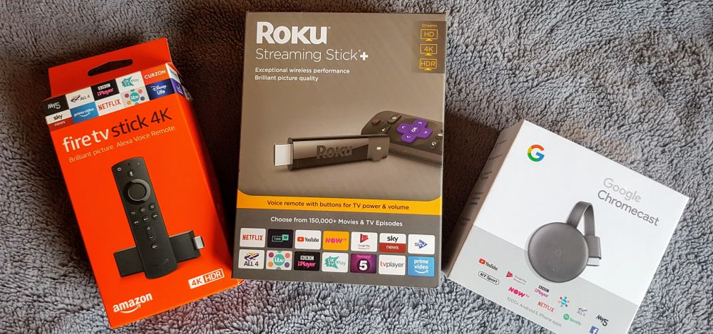 Best streaming devices UK - Firestick, Roku Stick Plus, Chromecast