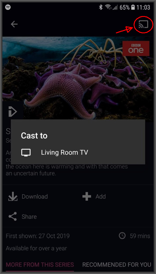 Cast content to Chromecast from BBC iPlayer app