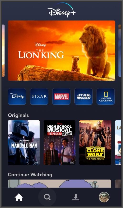Disney Plus smartphone app