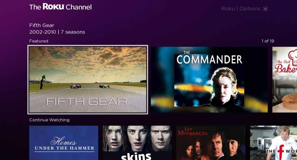 The Roku Channel UK homescreen 1000