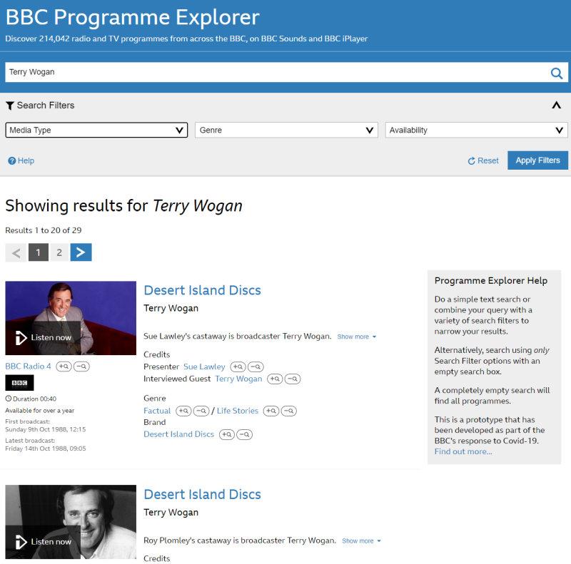 BBC Programme Explorer search