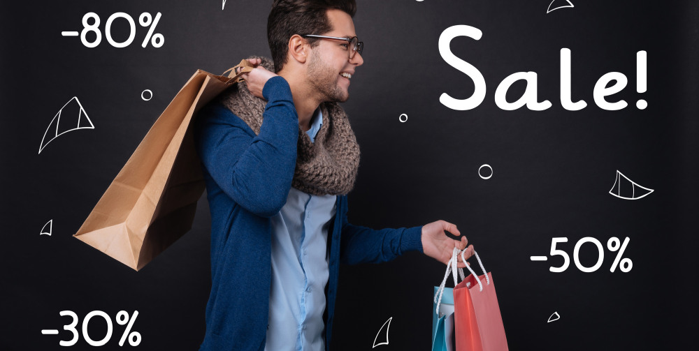 Man shopping sales deals