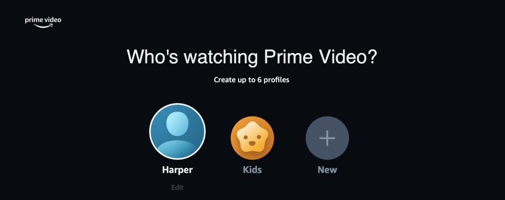 Amazon Prime Video profiles screen