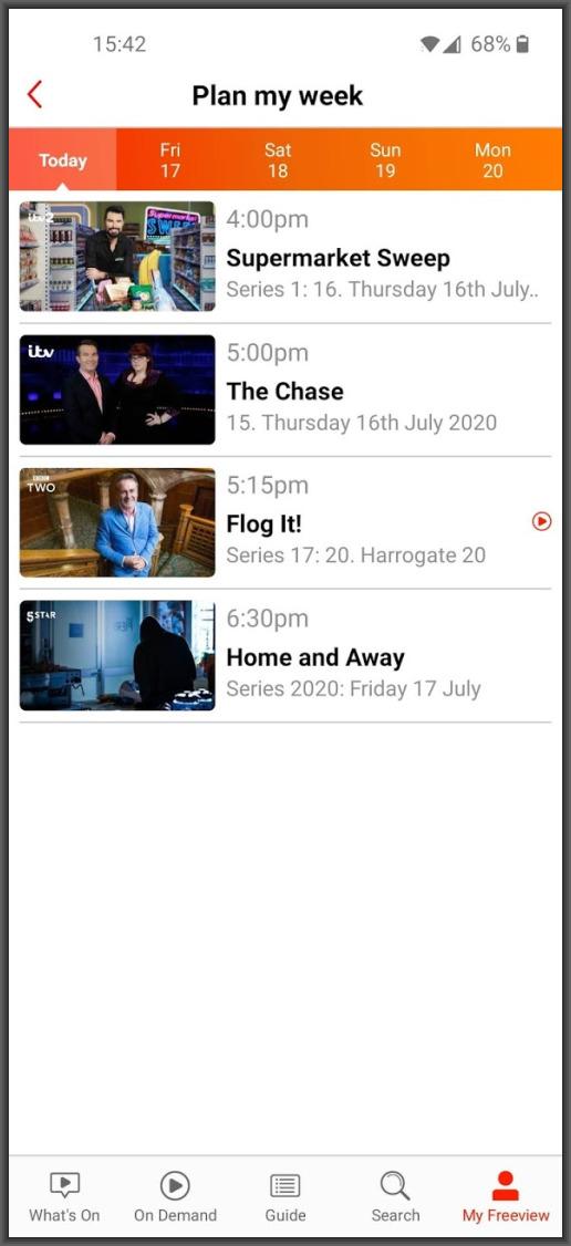 Freeview App plan my week