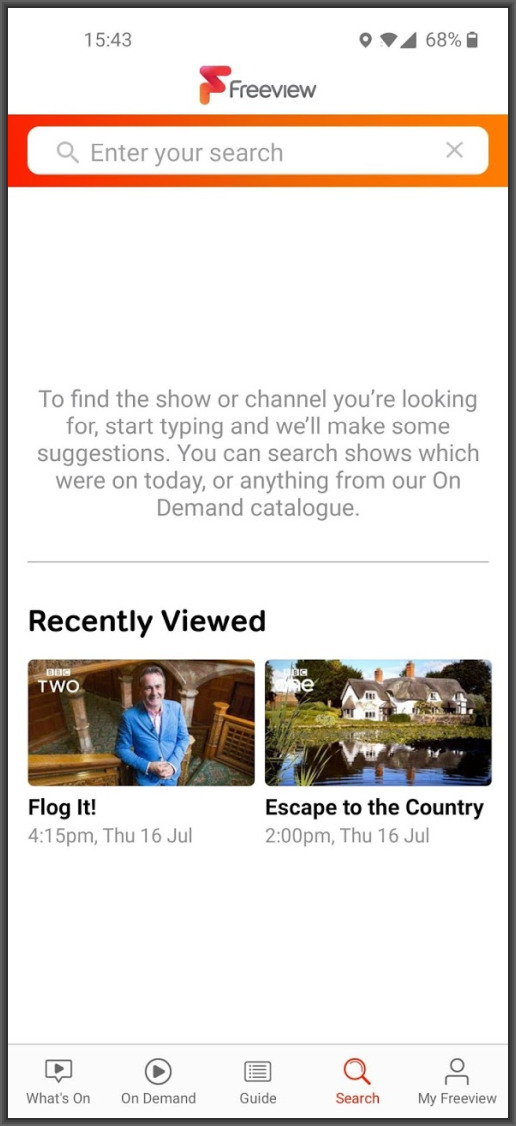 Freeview App recently viewed