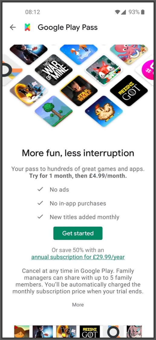 Google Play Pass join screen