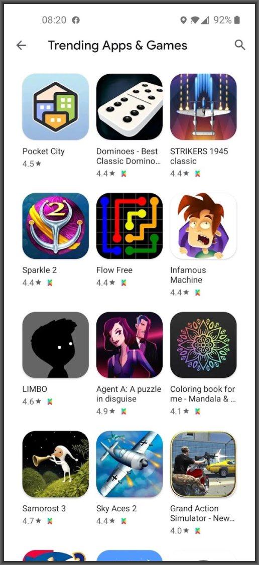 Google play pass trending games