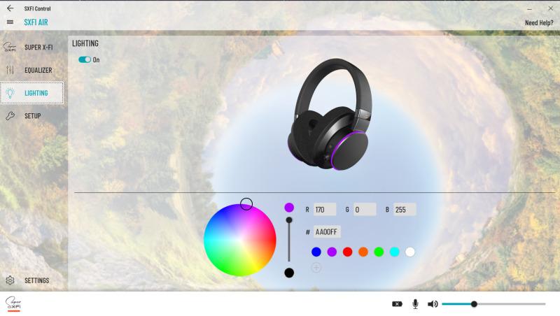 SXFI Air pc control panel colours