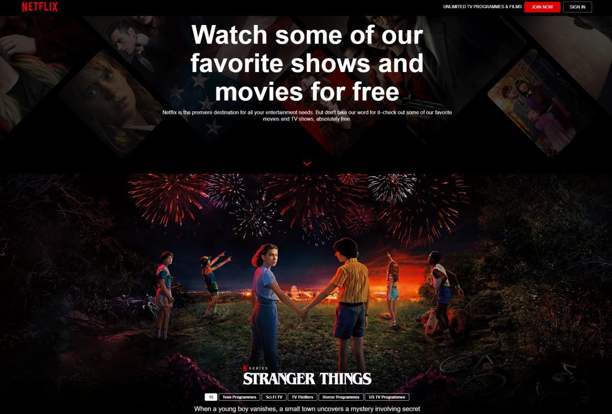 Netflix free page