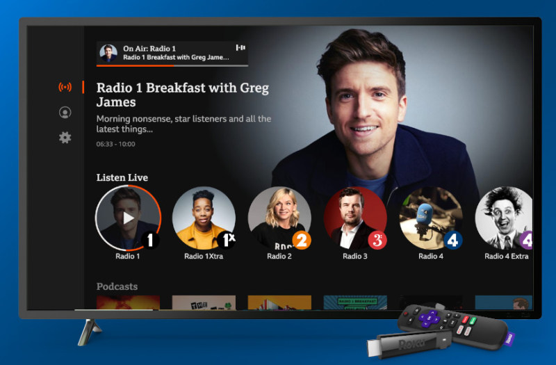 BBC Sounds tv roku screen