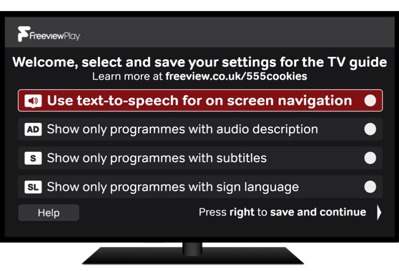 Freeview Play accessible guide options