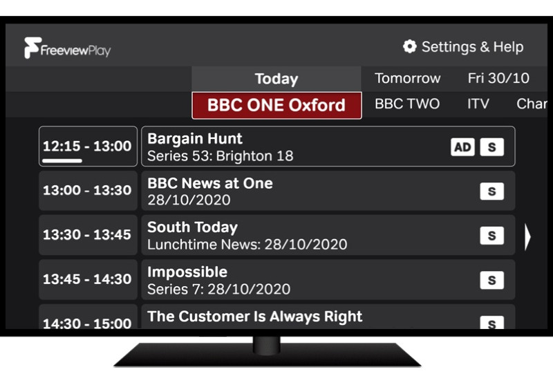 Freeview Play accessible guide screenshot