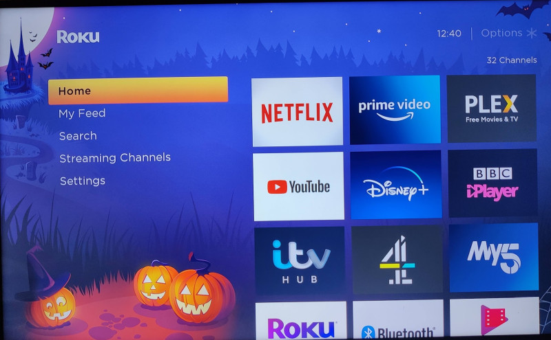 Roku Streambar halloween interface