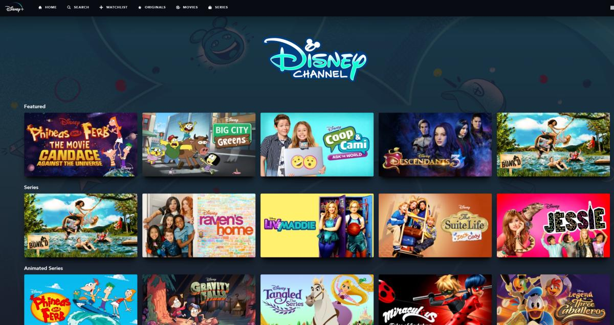 The Disney Channel on Disney Plus