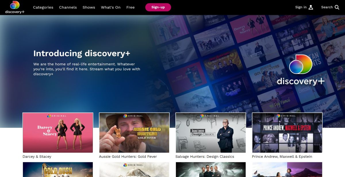 DiscoveryPlus main page