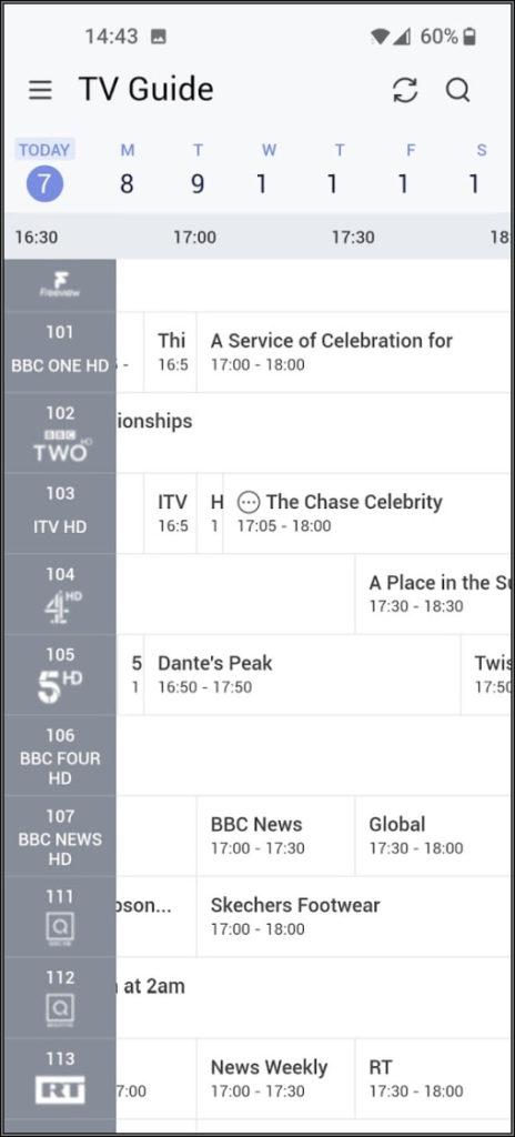 Humax Aura app tv guide