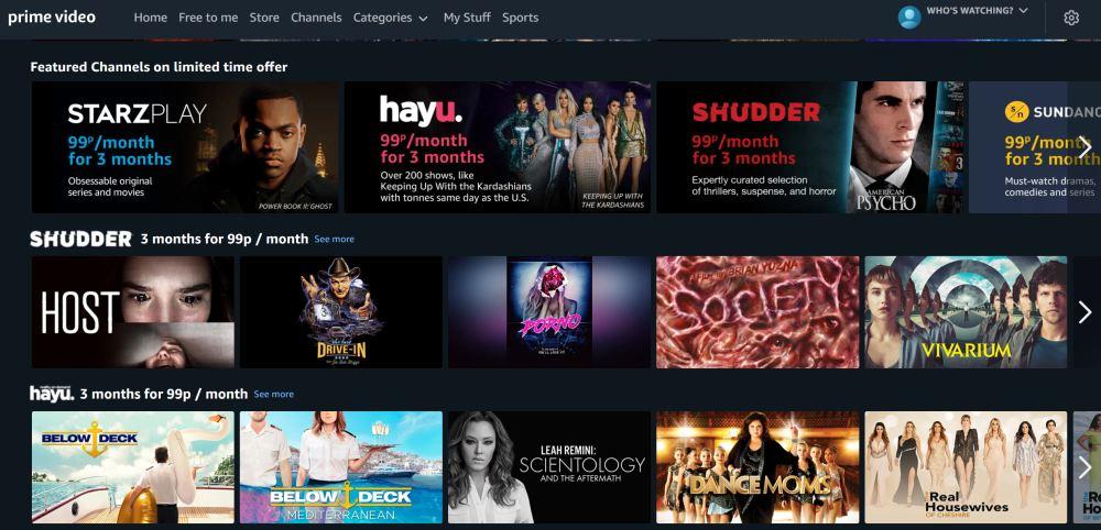 Amazon Channels promotion