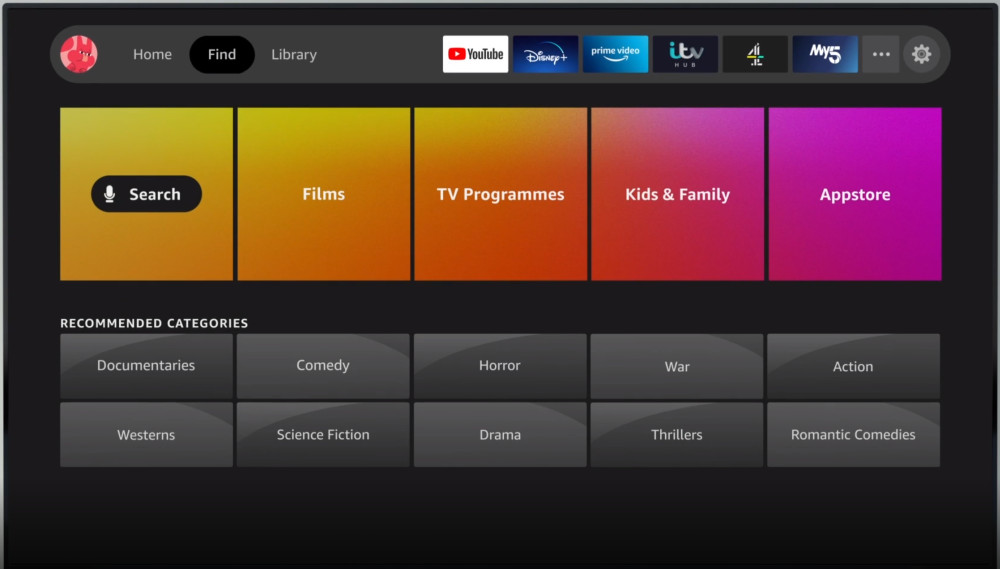 Fire TV new interface find