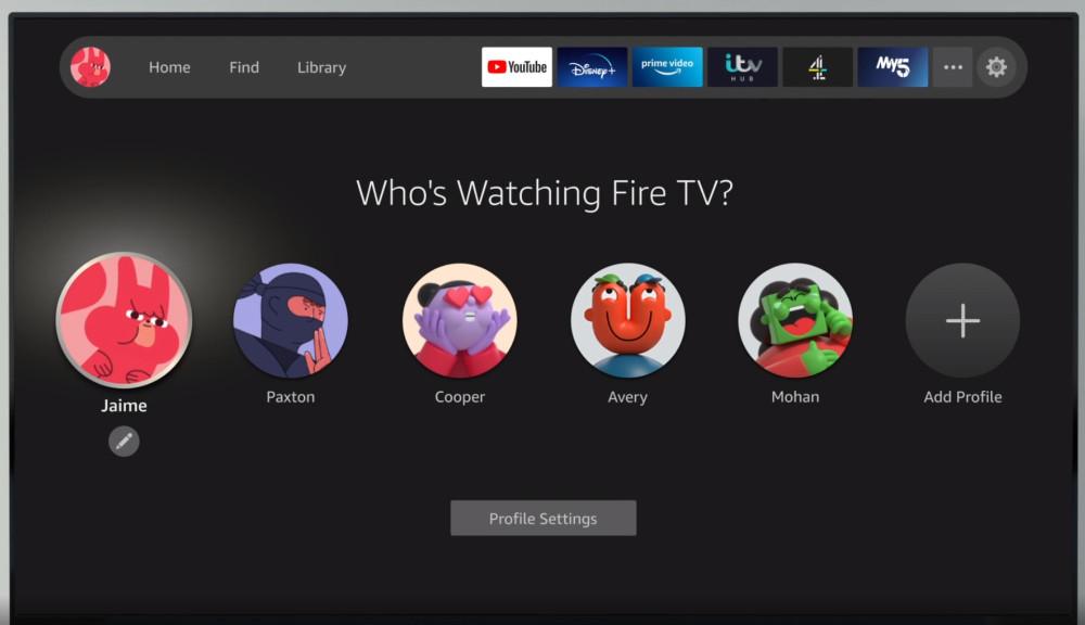 Fire TV new interface profiles