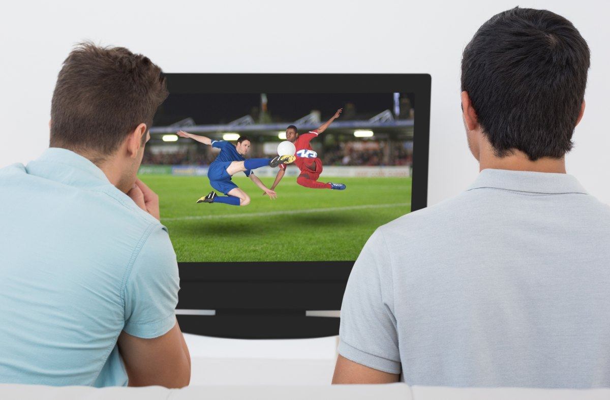 Men watching football on TV 1200