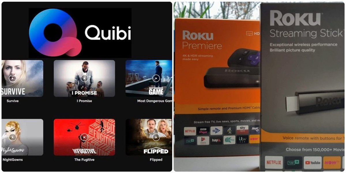 Quibi and Roku collage