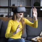 Woman wearing VR headset 1200
