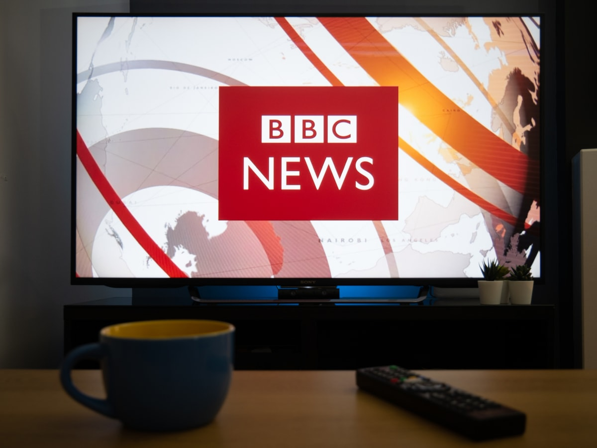 BBC News on TV screen 1200