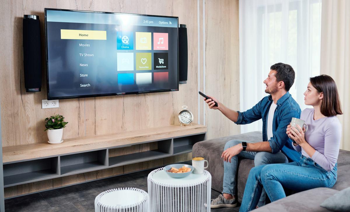 Couple watching smart tv