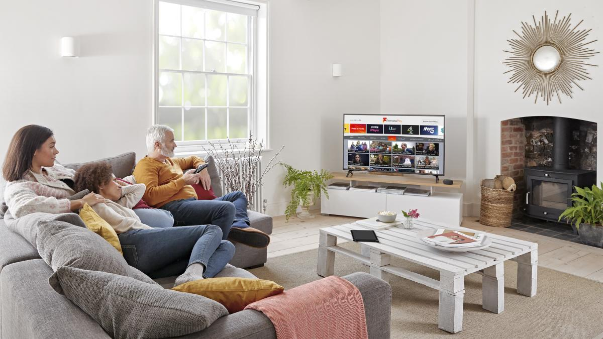 Family watching Freeview Play 1200