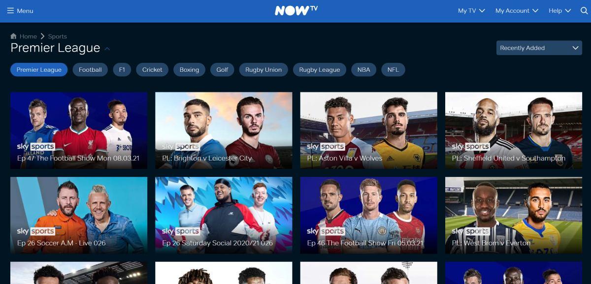 NOW TV on demand sports premier league