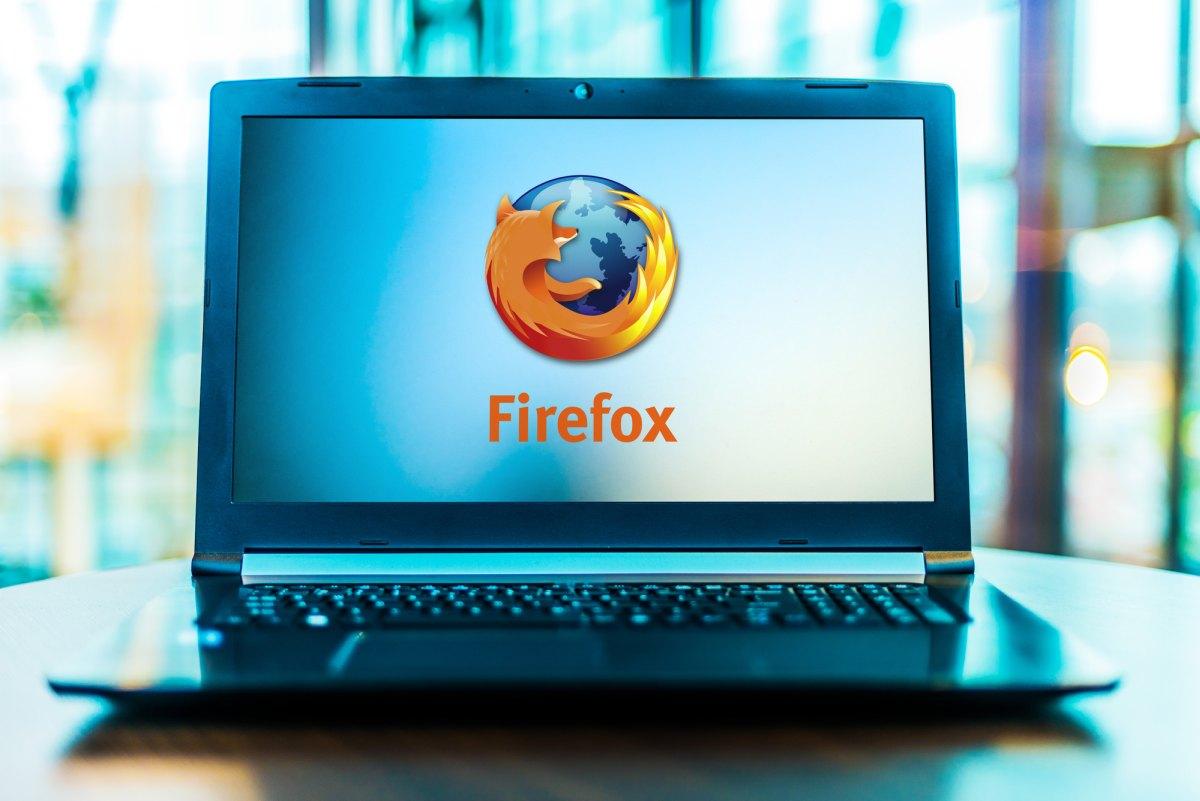 Firefox Browser logo on laptop 1200