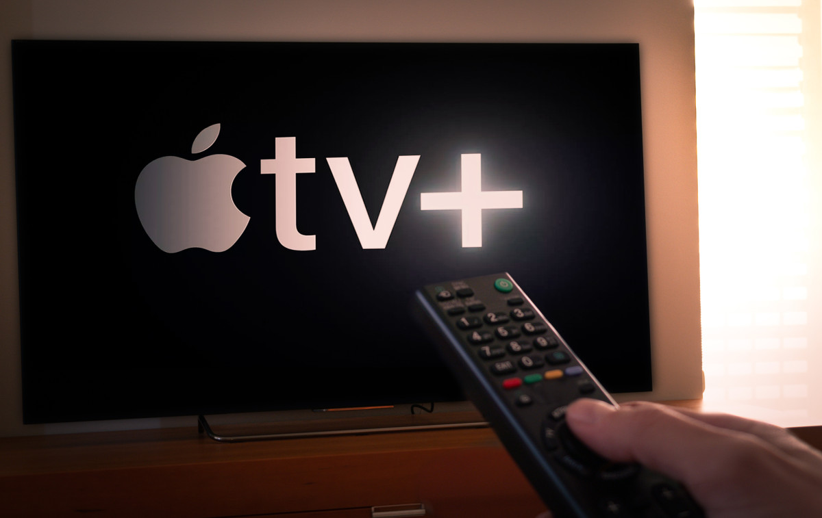 Apple TV plus on TV with remote 1200