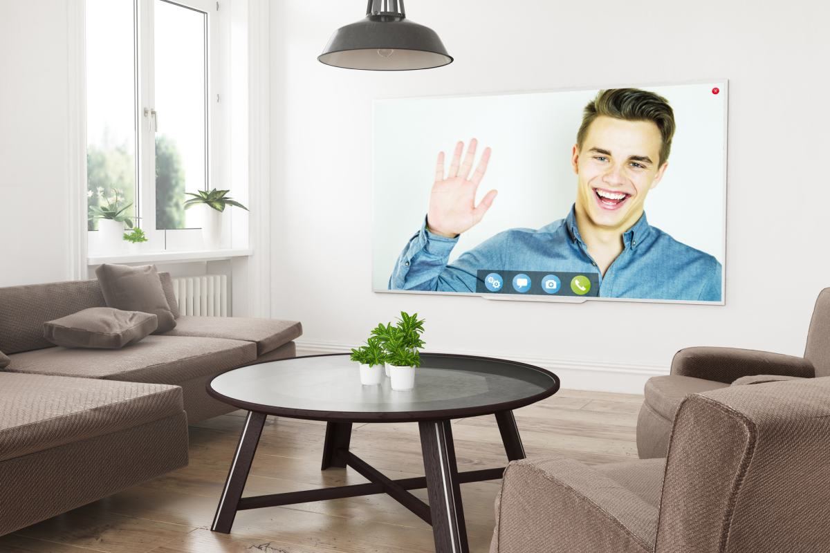 video call on TV living room